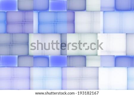 Bright blue / purple abstract glass 'bricks' on black background - stock photo