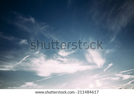 Bright Blue Sky  And White Clouds Background - stock photo