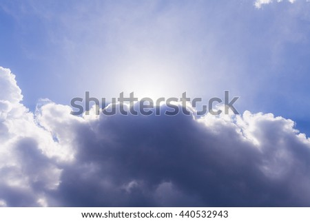bright blue sky with the sun. - stock photo