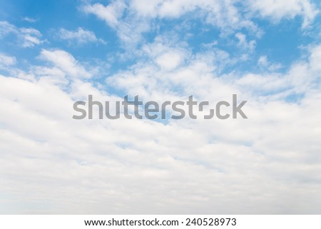 Bright blue sky with white clouds - stock photo