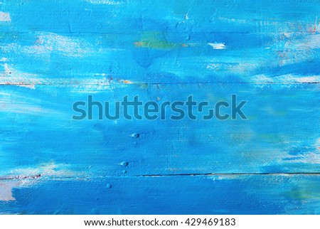 Bright blue style wooden background - stock photo