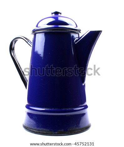 Bright Blue Tin coffee pot - stock photo