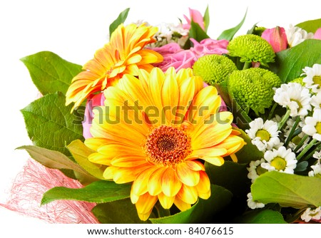 Bright bouquet isolated on white, closeup on daisy - stock photo