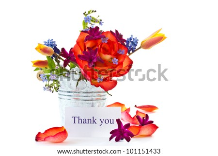 bright bouquet of roses and spring flowers on a white background - stock photo