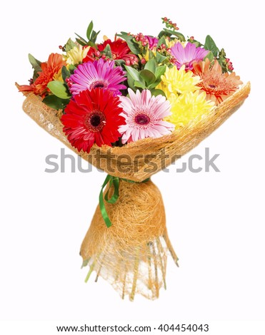 bright bouquet with gerberas and chrysanthemum on a white background - stock photo