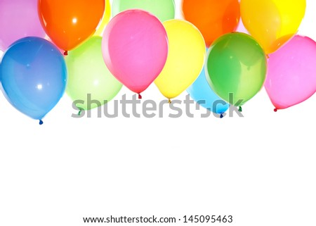 bright bunch of balloons background isolated on white  - stock photo
