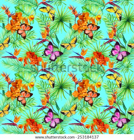 Bright butterflies in tropic forest: tropical leaves and exotic flowers. Repeating pattern. Watercolour  - stock photo