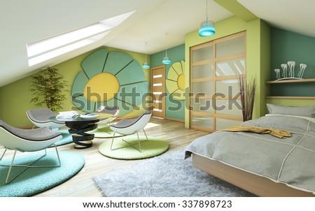 Bright Children Room On Attic 3d Rendering - stock photo
