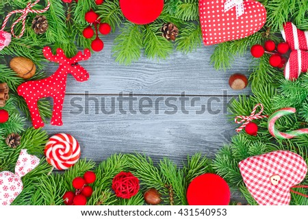 Bright Christmas background with space for the text. A Christmas frame with a red decor. - stock photo