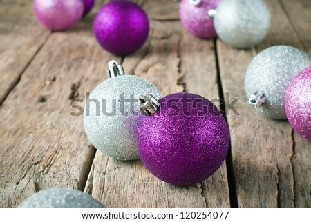 Bright Christmas Balls  on the Wooden Table - stock photo