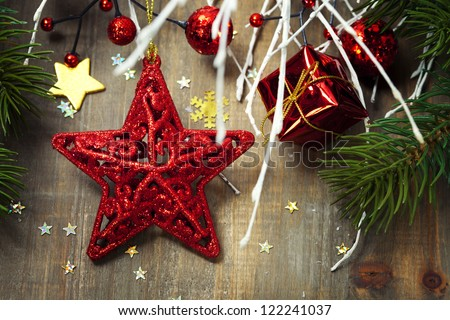 Bright christmas composition with red star - stock photo