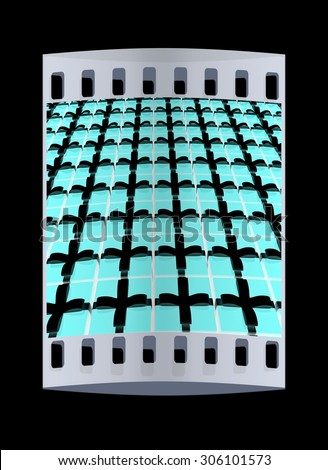 Bright christmas gift background. The film strip - stock photo
