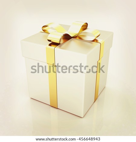 Bright christmas gift on a white background . 3D illustration. Vintage style. - stock photo