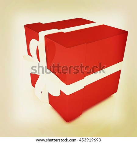 Bright christmas gifts on a white background . 3D illustration. Vintage style. - stock photo
