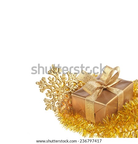 Bright christmas ornament card,  isolated on white background - stock photo