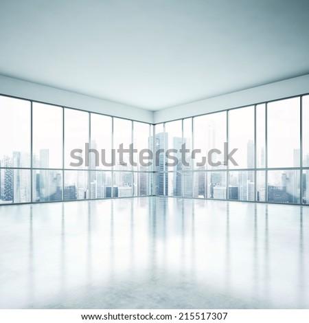 Bright clean interior. Empty open plan interior. - stock photo