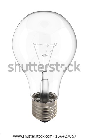 Bright clear light bulb incandescent electric glass with glowing lit filament and exposed electrical socket isolated on a white background. - stock photo