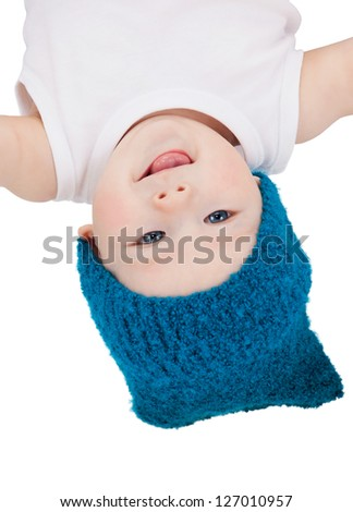 bright closeup picture of adorable baby boy. - stock photo