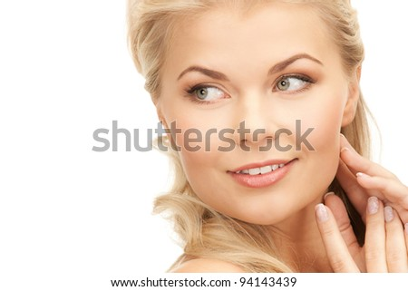 bright closeup portrait picture of beautiful woman. - stock photo
