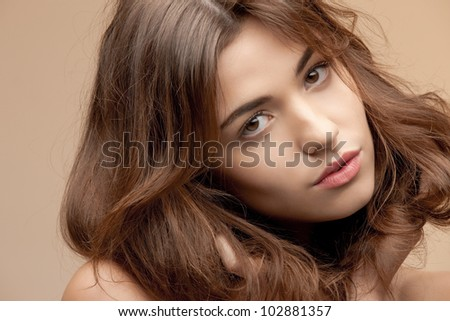 bright closeup portrait picture of pensive woman - stock photo