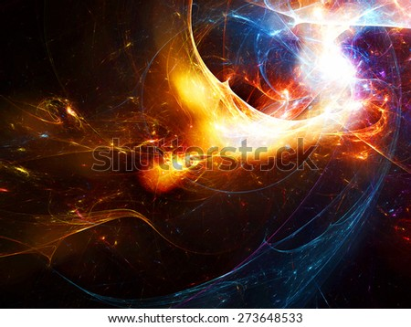 Bright color glowing smoke. Abstract futuristic background with lighting effect for creative graphic design. Shiny template for wallpaper desktop, poster, cover booklet, flyer. Fractal artwork - stock photo