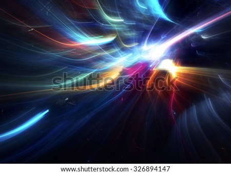 Bright color glowing smoke. Festive Christmas background with light trails blurred effect. Shiny template. Abstract fantasy pattern for creative graphic design. Fractal art - stock photo