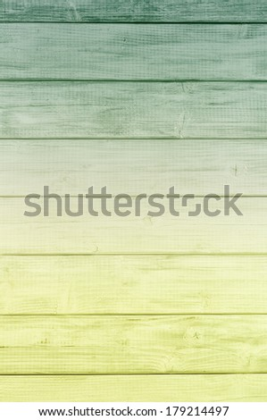 Bright Color Spectrum Dark Green to Yellow Green Rustic painted board Background, perfect for St. Patricks Day or Christmas with room or space for copy, text, words, designs - stock photo