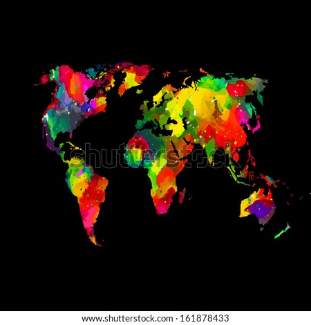bright colored map of the world. Raster - stock photo