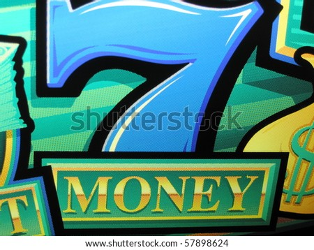 bright colored sign showing that sevens mean money - stock photo