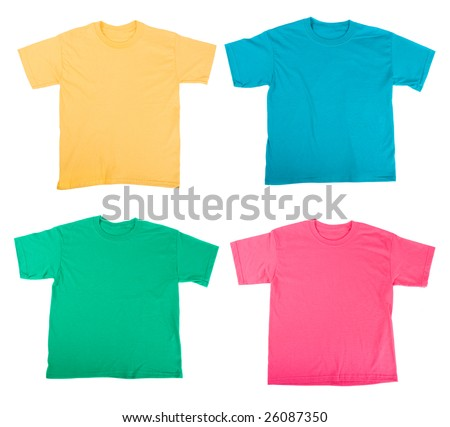 bright colored Tee Shirts isolated on white - stock photo