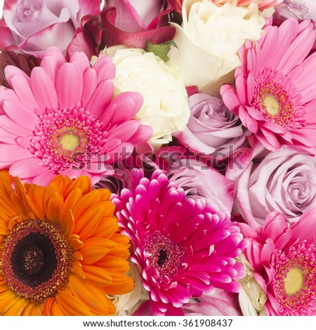 bright colorful beautiful bouquet of roses and pink and white roses - stock photo