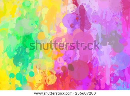 Bright colorful brush strokes background. Raster version - stock photo