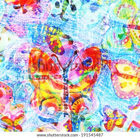 Bright colorful buterflies watercolor painting - stock photo