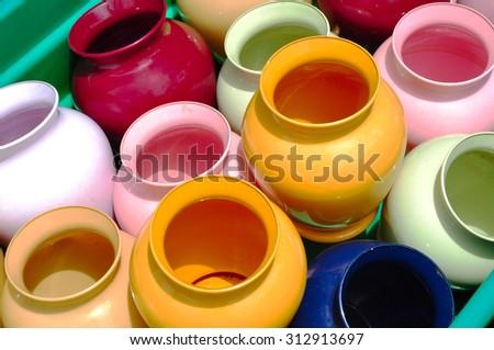 bright colorful jugs - stock photo