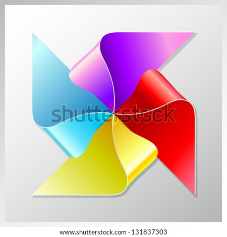 bright colorful recycle paper windmill, raster version - stock photo