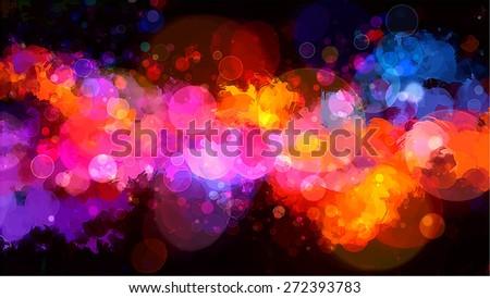 Bright colorful shine orange brush strokes background. Raster version - stock photo