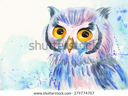 Bright colorful watercolor illustration of an owl - stock photo