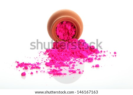 Bright colour for holi festival with one bowl - stock photo