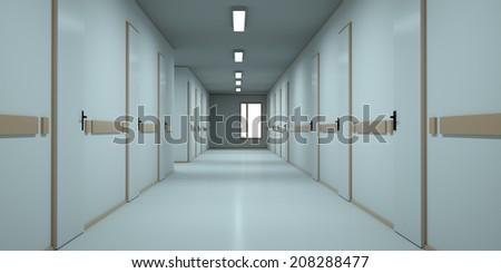 Bright corridor in the hospital. 3d render - stock photo