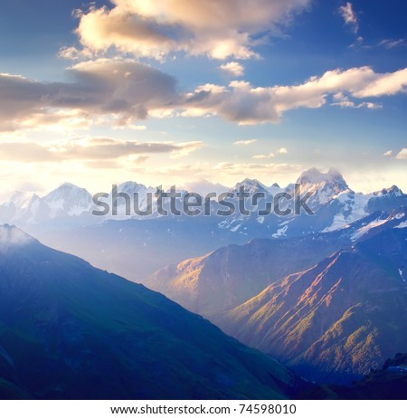 Bright dawning in mountain. Composition of the nature - stock photo