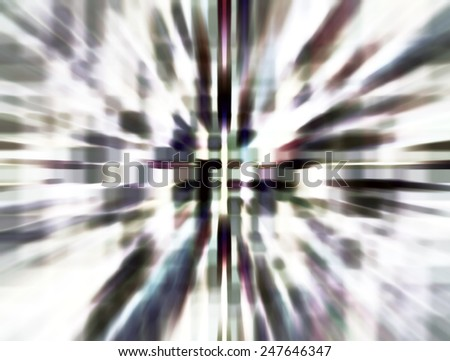 Bright dreamlike abstract of wormhole with extensive radial blur seen from starship accelerating at warp speed 31 - stock photo