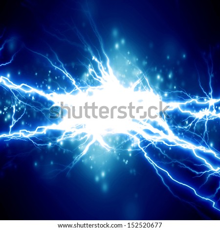 bright electrical spark on a dark blue background - stock photo