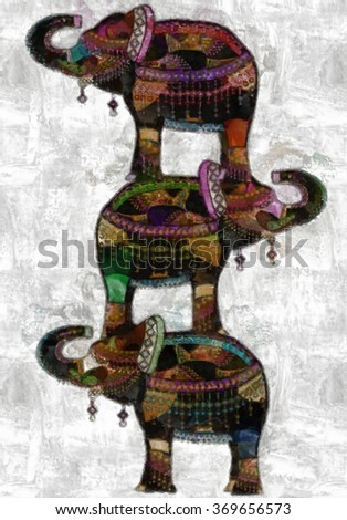 bright elephants standing on the back of each other - stock photo