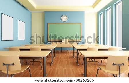 Bright empty classroom without student with wooden furniture -rendering - stock photo