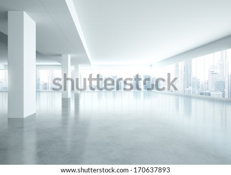 Bright empty office interior - stock photo
