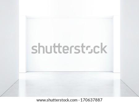 bright empty room with spotlights - stock photo