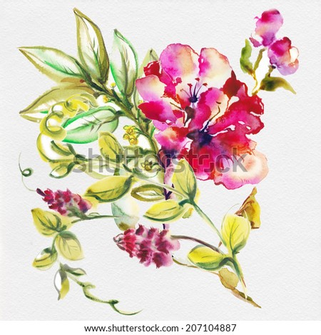 Bright exotic bouquet from flowers , drawn with watercolor paints.  - stock photo