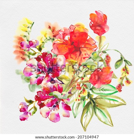 """Bright exotic bouquet from flowers , drawn with watercolor paints.  Album """"Bouquet of flowers."""" """"New bouquets bu a holiday from water color . """" Red poppies. """" - stock photo"""