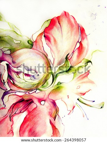 Bright exotic flowers - colorful carpet with pink accents. Watercolor, drawing on paper - hand illustration. - stock photo
