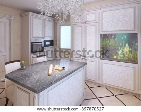 Bright expensive kitchen design. Kitchen island bar with granite countertop. Crystal lamp and aquarium in a modern interior. 3D render - stock photo